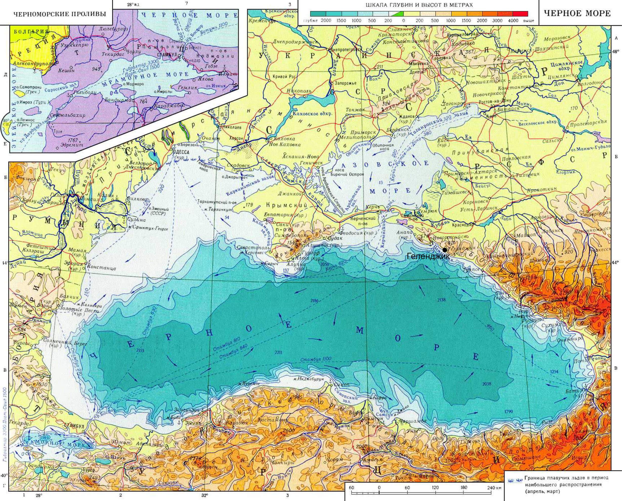 Чёрное море физическая карта